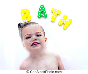 "Bathtime Learning - Little girl spells ""bath"" with colorful..."