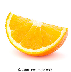 One orange fruit segment or cantle isolated on white...