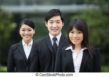Asian business team. - Group of happy Asian business people...