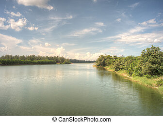 Punggol Waterway, Singapore. The newly build Punggol...