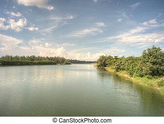 Punggol Waterway, Singapore. The newly build Punggol...
