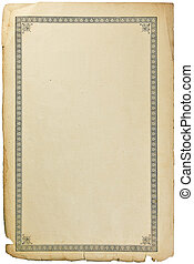 Old grungy book paper sheet page with vignette, isolated