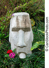 Hawaiian Tiki with Attitude - Stone faced tiki sticks out...