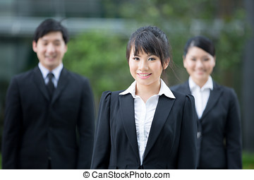 Asian business team - Group of happy Asian business people...