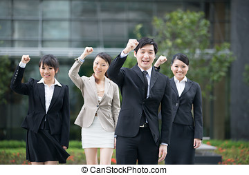 Asian Business team celebrating - Business man celebrating...