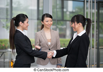 Business women shaking hands - Asian business women shaking...
