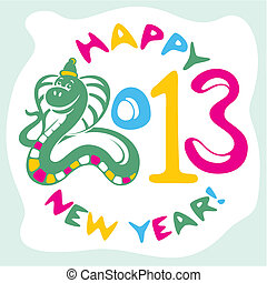 new year card with snake - new year card with funny snake...