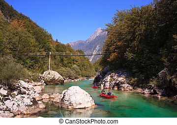 Minirafting on the Soca river, Slovenia - Minirafting in the...