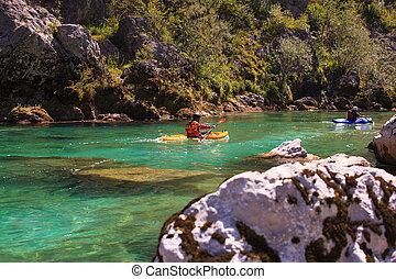 Kayaking on the Soca river, Slovenia - Kayaking in the...