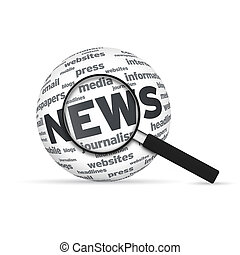 News 3d Word Sphere with magnifying glass on white...