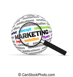 Marketing 3d Word Sphere with magnifying glass on white...