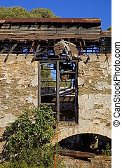 mining area, facade with windows - Abandoned facade with...