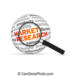 Market research 3d Word Sphere with magnifying glass on...