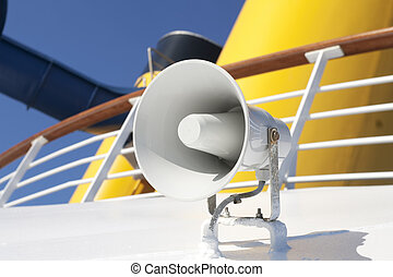 Boat Horn - White boat horn on deck of cruise ship