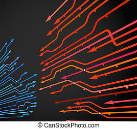 Abstract background of metro lines with arrows on black