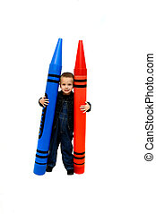 Color my World - Small boy holds two giant crayons in red...