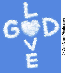 God is love text in clouds form with blue sky background