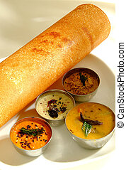 Indian thosai - Indian vegetarian crepepancake served with...