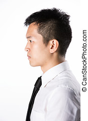 Side view of a business man. - Side view portrait of a Happy...