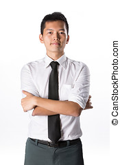 Happy young business man - Happy Asian business man with his...