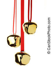 Jingle Bells - jingle bells hanging on red ribbon, isolated...