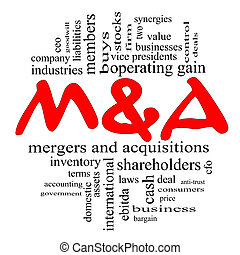 M and A Mergers and Acquisitions Word Cloud Concept in Red...