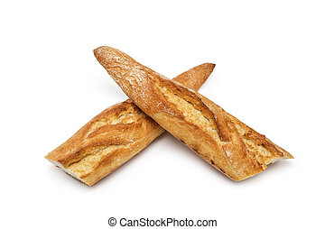 baguette bread folded cross isolated on white background
