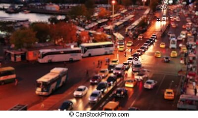 bus station night scene - miniature effect bus station time...