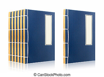 Chinese ancient books - Blue chinese ancient books with...