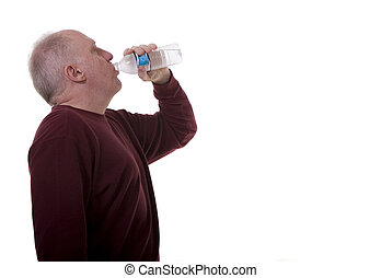 Old Man Drinking Water - An older man in a long sleeved...