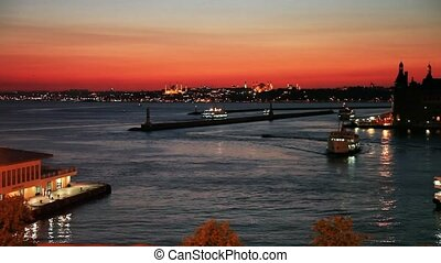 sea traffic - kadikoy and haydarpasha dock at istanbul...