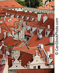 Roofs in downtown of Prague