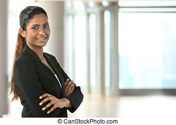 Asian business woman - Portrait of a happy Indian business...