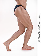Muscled legs of a male athletic model on white background
