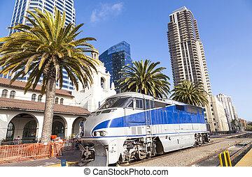 Diesel locomotive; San Diego, California. - Diesel...