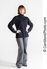 Standing middle aged woman - Full height studio portrait if...