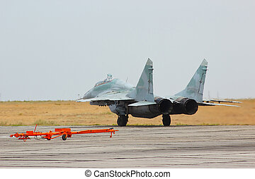 Russian jet fighter MiG-29 at an air base