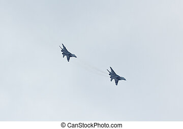 Two russian tactical jet fighter MiG-29 make attack in the...