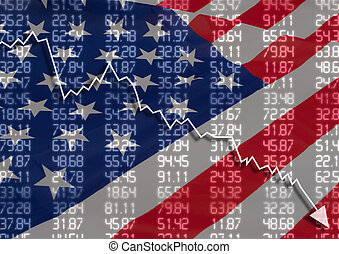 Crisis in USA - Shares Fall Graph on United States of...