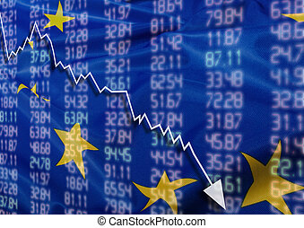 Crisis in Europe - Shares Fall Graph on European Union Flag