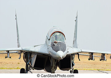 Russian jet fighter MiG-29 at an aerodrome