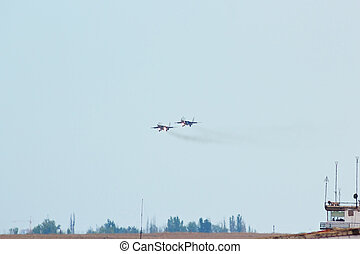 Two russian tactical jet fighter MIG-29 is landing on the...
