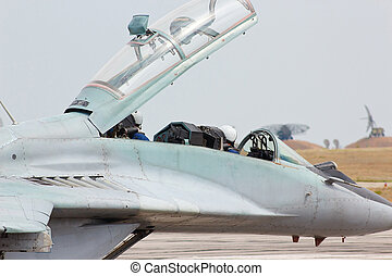 Russian tactical military jet fighter MiG-29 cockpit
