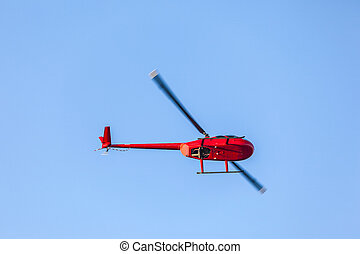 helicopter in the air