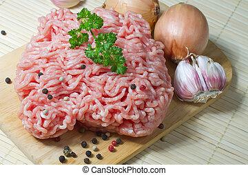 crudo, picado, carne, listo, cocina