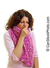 Coughing woman isolated on white background, studio shot....