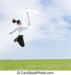 Happy Asian Business woman - Conceptual Stock image of an...