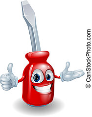 Screwdriver man - Cartoon illustration of a red screwdriver...