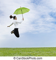 Happy Asian Business woman - Asian business woman jumping...