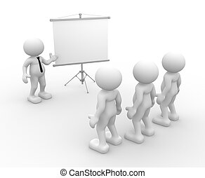 Team - 3d people - men, person presenting at a flip-chart...